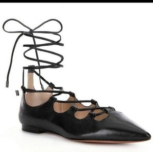 Coach Black Justine Tie Up Pointed Toe Flats, Sz 8